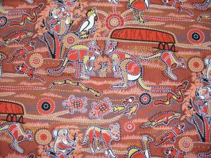 Country Fabrics N Things - Australiana Dreamtime Red